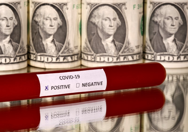 © Reuters. FILE PHOTO: Picture illustration of a test tube labelled with the coronavirus is seen in front of U.S. dollar banknotes