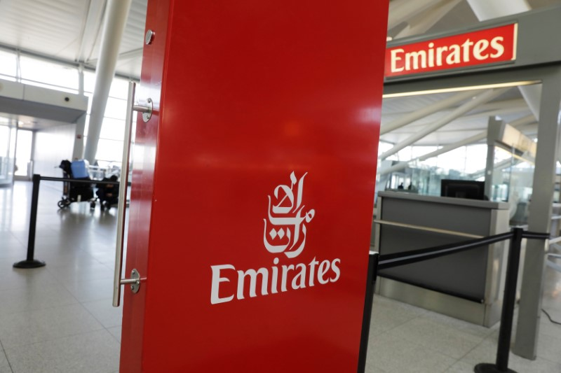 © Reuters. An Emirates Airlines ticket desk stands empty at JFK International Airport in New York