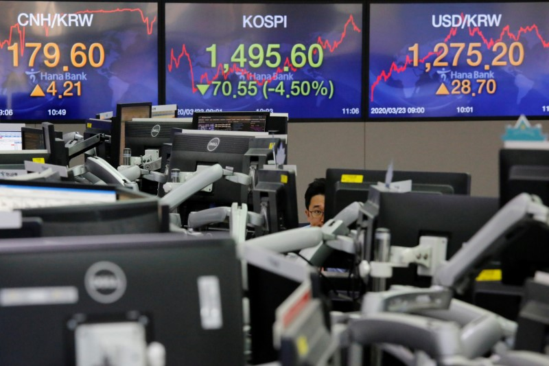 © Reuters. A currency dealer works in front of electronic boards showing the Korea Composite Stock Price Index (KOSPI) and the exchange rate between the U.S. dollar and South Korean won, in Seoul