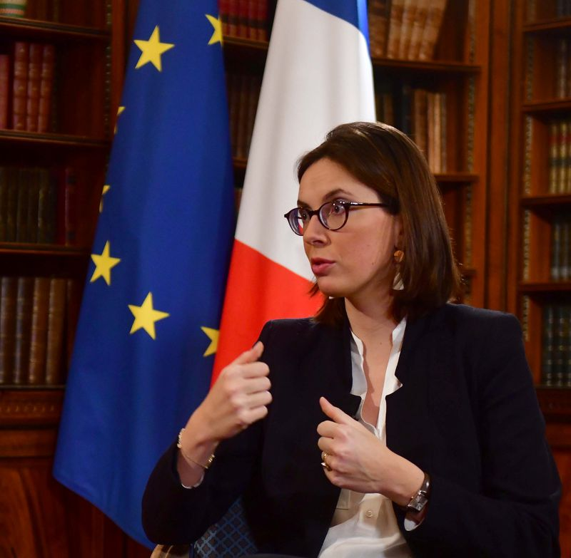 © Reuters. French Junior Minister for European Affairs Amelie de Montchalin appears on BBC TV's The Andrew Marr Show in London