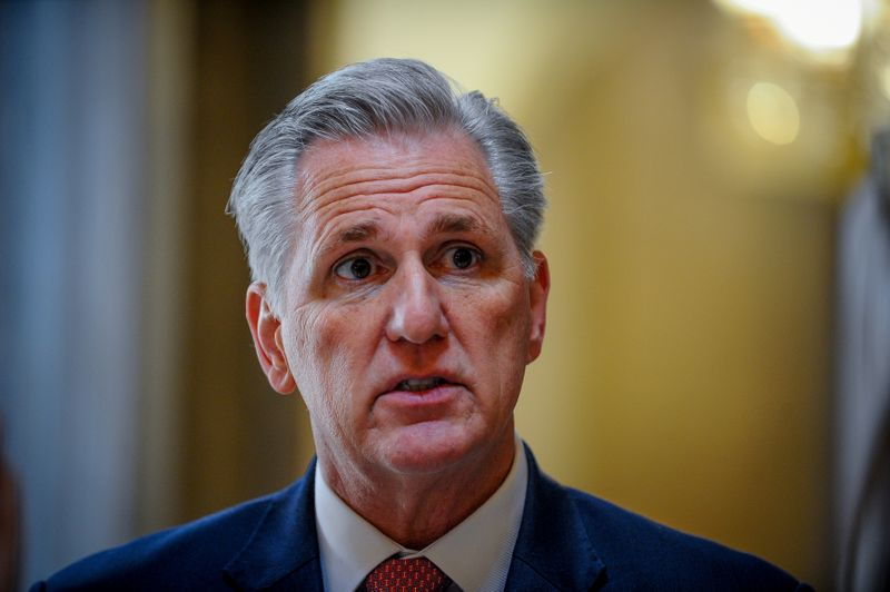 © Reuters. McCarthy speaks to the media after a meeting to wrap up work on coronavirus economic aid legislation