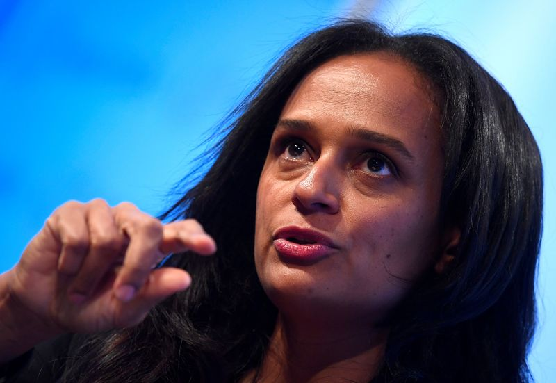 © Reuters. FILE PHOTO: Isabel dos Santos, Chairwoman of Sonangol, speaks during a Reuters Newsmaker event in London, Britain