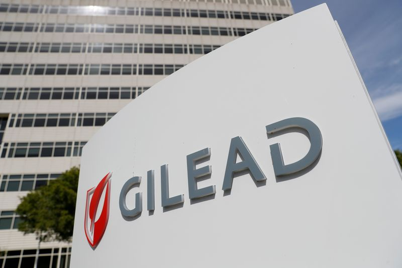 © Reuters. FILE PHOTO: A Gilead Sciences Inc. office is shown in Foster City, California