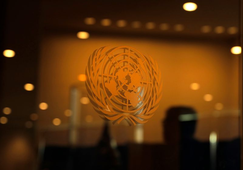 © Reuters. The United Nations logo is seen during the 2019 United Nations Climate Action Summit at U.N. headquarters in New York City, New York, U.S.