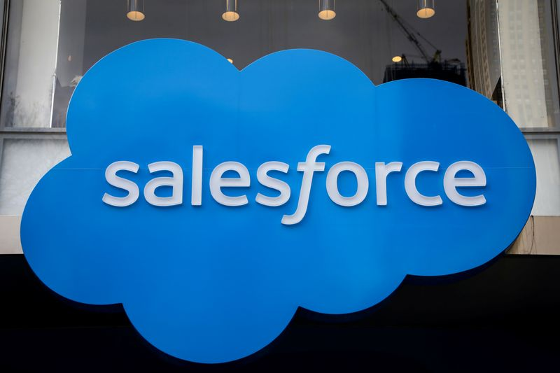 © Reuters. The company logo for Salesforce.com is displayed on the Salesforce Tower in New York