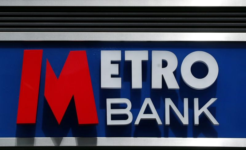 © Reuters. Signage is seen outside of a Metro Bank in London