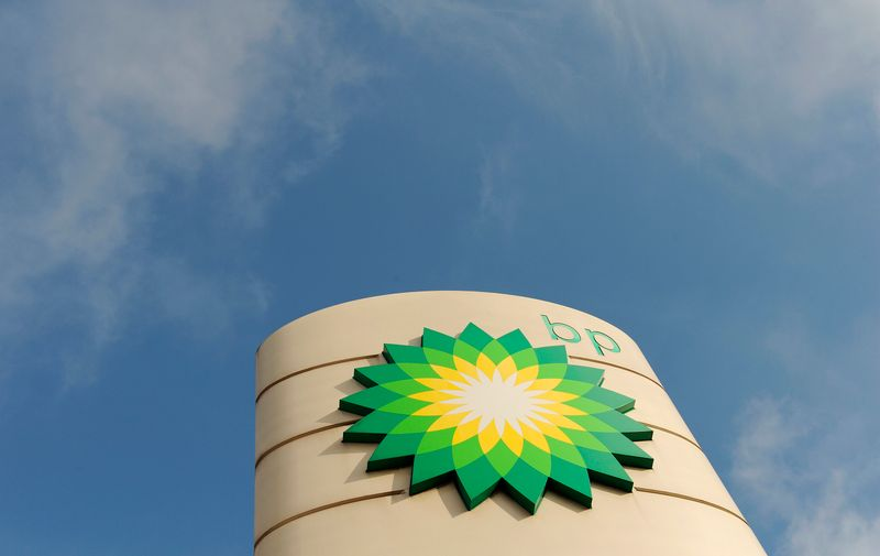 © Reuters. A logo on a British Petroleum petrol station is seen in London