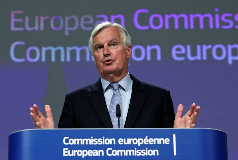 © Reuters. FILE PHOTO: EU's Brexit negotiator Michel Barnier gives a news conference after Brexit negotiations, in Brussels