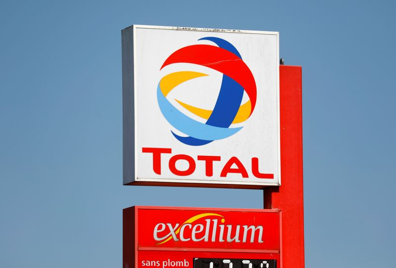 © Reuters. Logo of Total company on a gas station in Montreuil