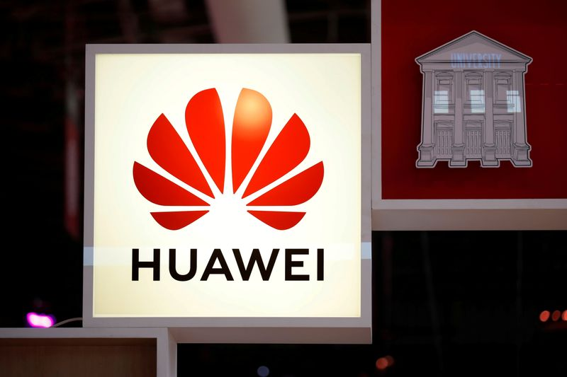 © Reuters. FILE PHOTO: Logo of Huawei is seen at VivaTech fair in Paris