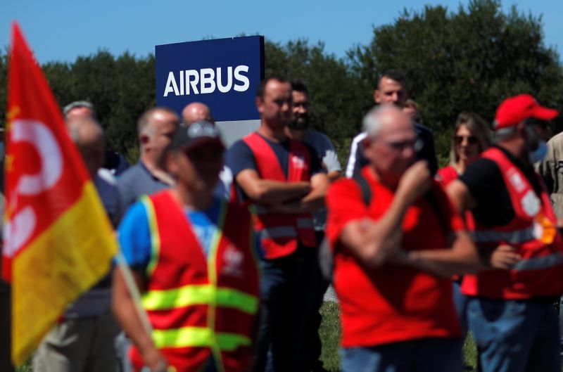 France urges no sackings at Airbus as workers march over jobs