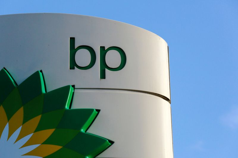 © Reuters. FILE PHOTO: File photo of a BP logo at a petrol station in London