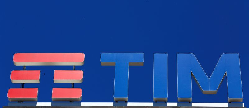 © Reuters. Telecom Italia's logo for the TIM brand is seen on building roof downtown Milan