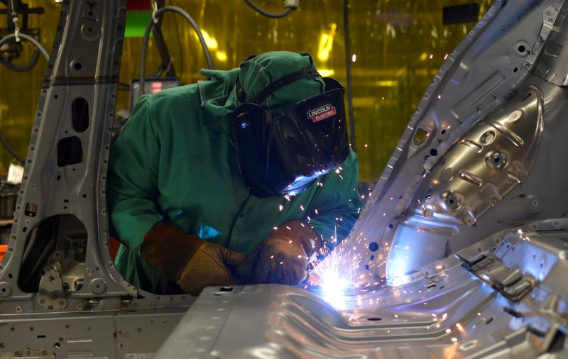 � Reuters. Line workers spot weld parts of the frame on the flex line at Nissan Motor Co's automobile manufacturing plant in Smyrna Tennessee