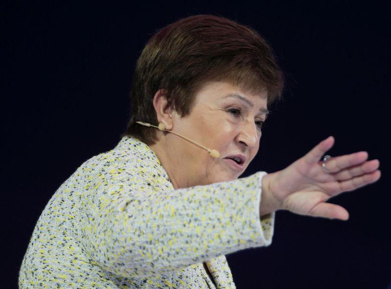 © Reuters. FILE PHOTO: IMF Managing Director Kristalina Georgieva speaks at the Global Women's Forum in Dubai