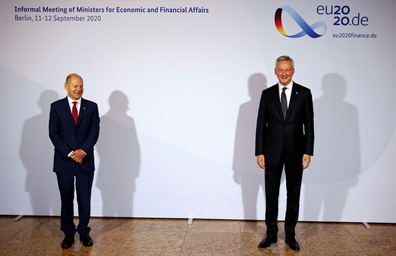 © Reuters. LES MINISTRES EUROPÉENS DES FINANCES À BERLIN, DE NOUVEAUX REVENUS POUR L'UE EN DISCUSSION