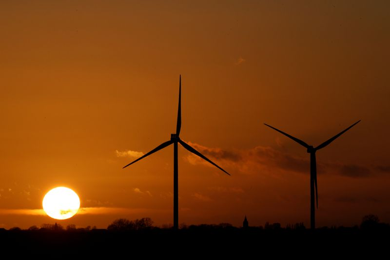 � Reuters. FILE PHOTO: Power-generating windmill turbines are seen at a wind park in Flesquieres