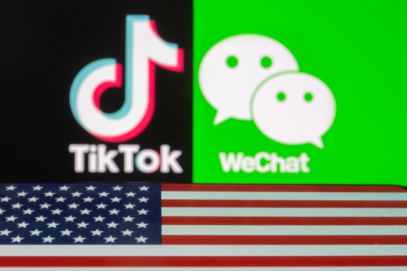 © Reuters. U.S. flag is seen on a smartphone in front of displayed Tik Tok and WeChat logos in this illustration