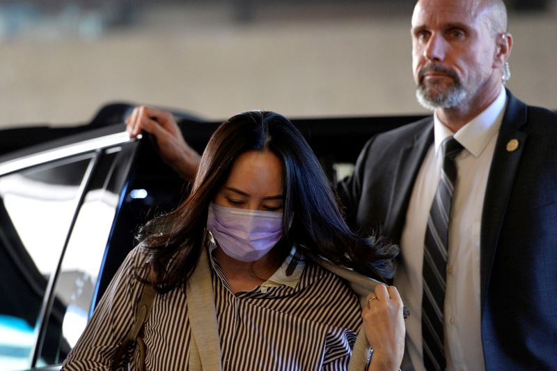 © Reuters. Huawei Technologies Chief Financial Officer Meng Wanzhou arrives at a court hearing in Vancouver