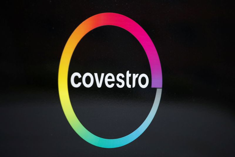 © Reuters. The logo of German chemicals maker Covestro is pictured outside its headquarters in Leverkusen