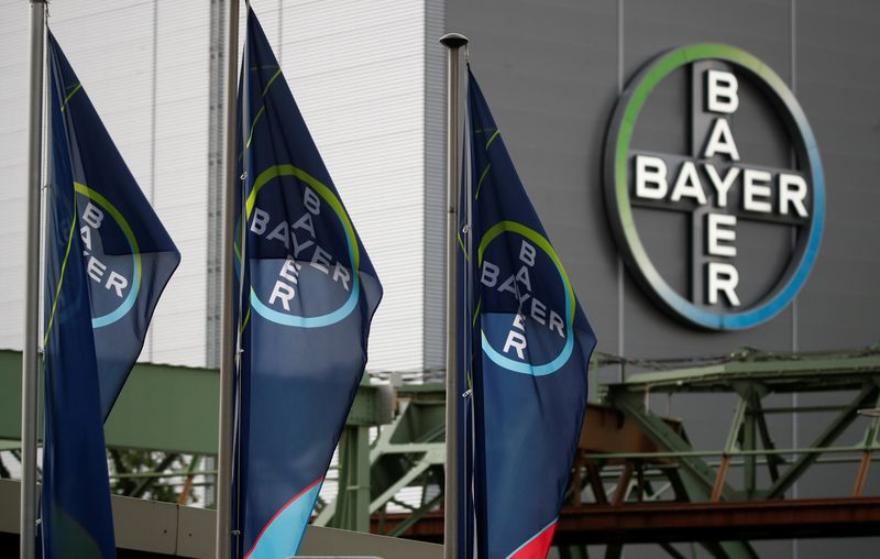 © Reuters. FILE PHOTO: Logo of Bayer AG pictured at a plant of Bayer in Wuppertal
