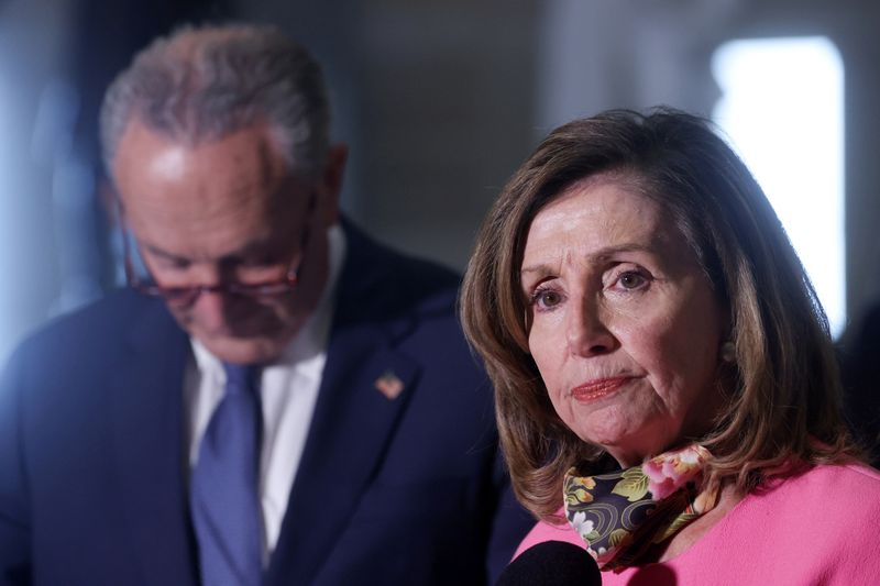 © Reuters. FILE PHOTO: U.S. House Speaker Pelosi and Senate Minority Leader Chuck Schumer (D-NY) speak to reporters after their coronavirus relief negotiations with Mnuchin and Meadows at the U.S. Capitol in Washington