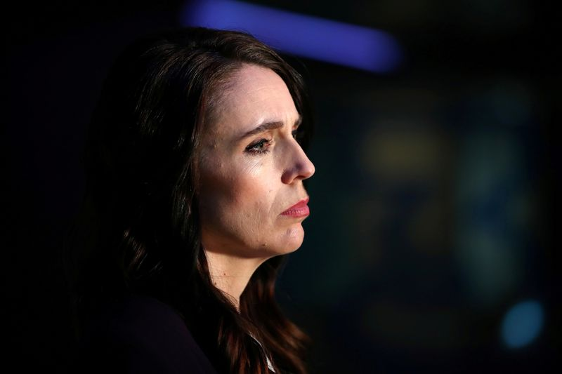 © Reuters. FILE PHOTO: New Zealand Prime Minister Ardern addresses the media after a debate in Auckland