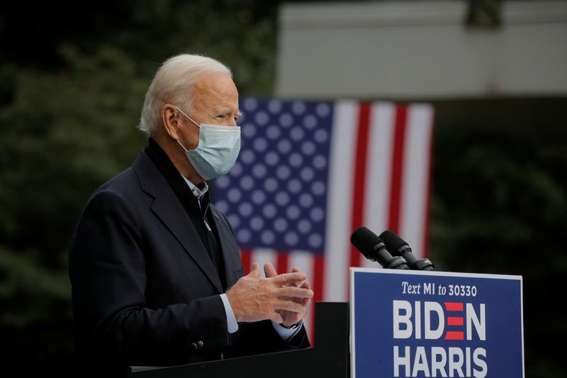 © Reuters. Джо Байден в Гранд-Рапидс, штат Мичиган