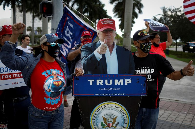 © Reuters. Supporters of U.S. President Trump attend a gathering as Democratic U.S. presidential nominee Biden campaigns in Miami