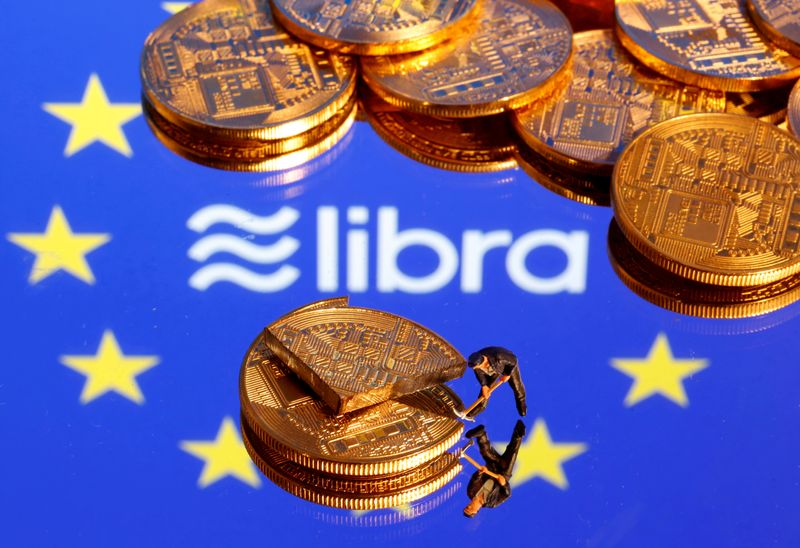 © Reuters. FILE PHOTO: A small toy figure is seen on representations of the virtual currency on a displayed European Union flag and the Facebook Libra logo in this illustration picture