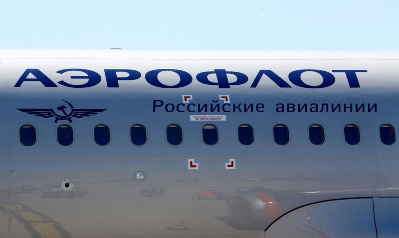 © Reuters. FILE PHOTO: The logo of Russia's flagship airline Aeroflot is seen on an Airbus A320 which landed after an inaugural trip at the Marseille-Provence airport in Marignane