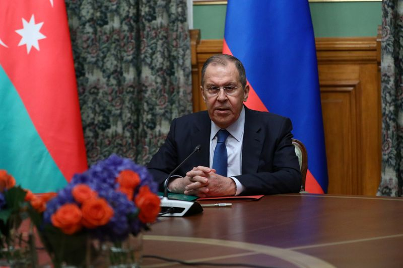 © Reuters. Russian Foreign Minister Lavrov attends a meeting with Azeri Foreign Minister Bayramov and Armenian Foreign Minister Mnatsakanyan in Moscow