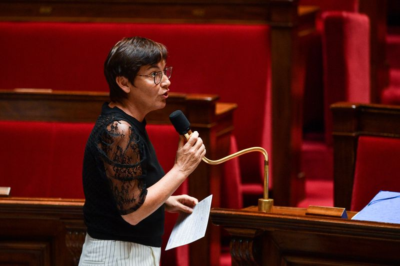 © Reuters. French Overseas Minister Annick Girardin speaks during a session of questions to the government at the French National Assembly in Paris