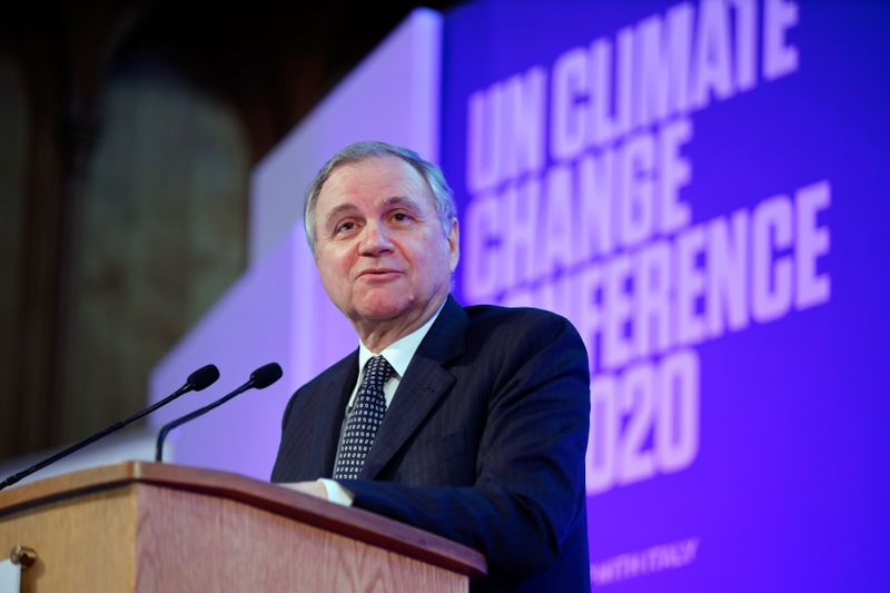 © Reuters. FILE PHOTO: Ignazio Visco, governor of Bank of Italy, speaks during an event to launch the private finance agenda for the 2020 United Nations Climate Change Conference (COP26) at Guildhall in London