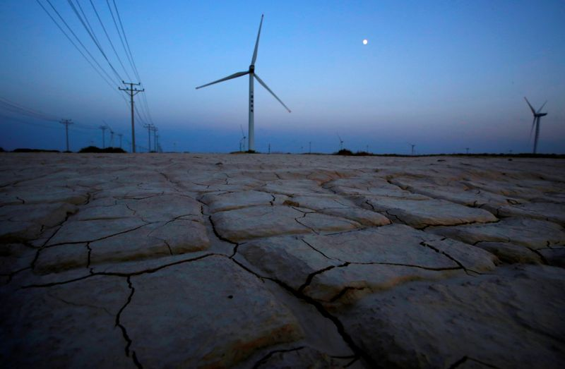© Reuters. FILE PHOTO: Cracked earth marks a dried-up area near a wind turbine used to generate electricity at a wind farm in Guazhou, 950km (590 miles) northwest of Lanzhou, Gansu Province