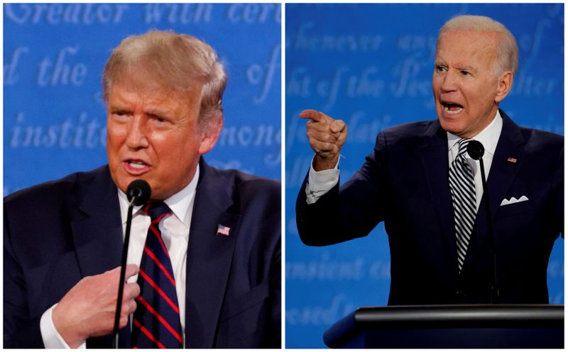 © Reuters. FILE PHOTO: A combination picture shows U.S. President Donald Trump and Democratic presidential nominee Joe Biden during the first 2020 presidential campaign debate, in Cleveland