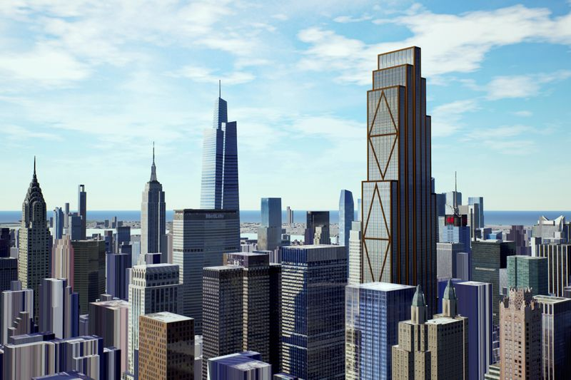 © Reuters. An artist's rendition shows how JPMorganÕs planned headquarters skyscraper could look in the New York City skyline