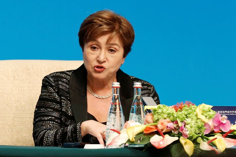 © Reuters. IMF Managing Director Kristalina Georgieva speaks at a news conference following the