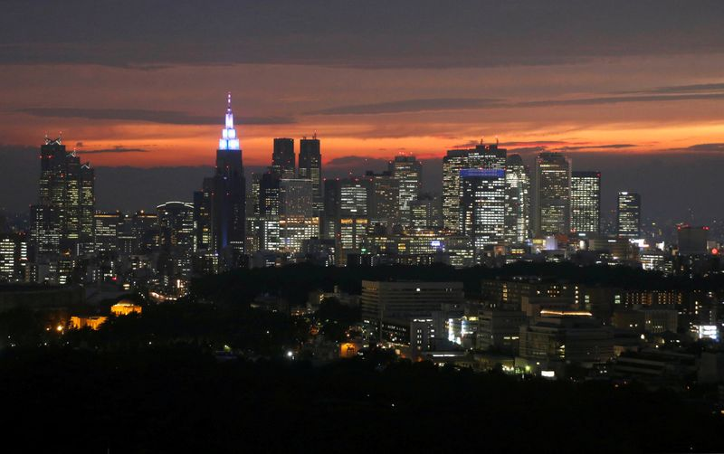 © Reuters. FILE PHOTO :High-rise buildings are seen at the Shinjuku business district during sunset in Tokyo