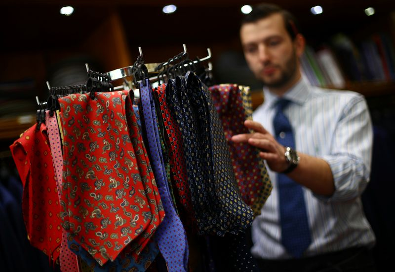 © Reuters. Cravats and bow ties are displayed for sale in the Dege & Skinner tailors on Savile Row, amid the coronavirus disease (COVID-19) outbreak, in London