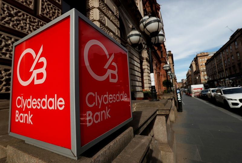 © Reuters. FILE PHOTO: The Clydesdale Bank logo is seen in St Vincent Place Glasgow, Scotland