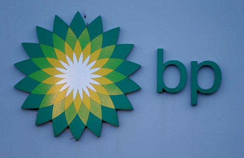 © Reuters. FILE PHOTO: File photograph shows a sign is outside BP's North Sea Headquarters in Aberdeen