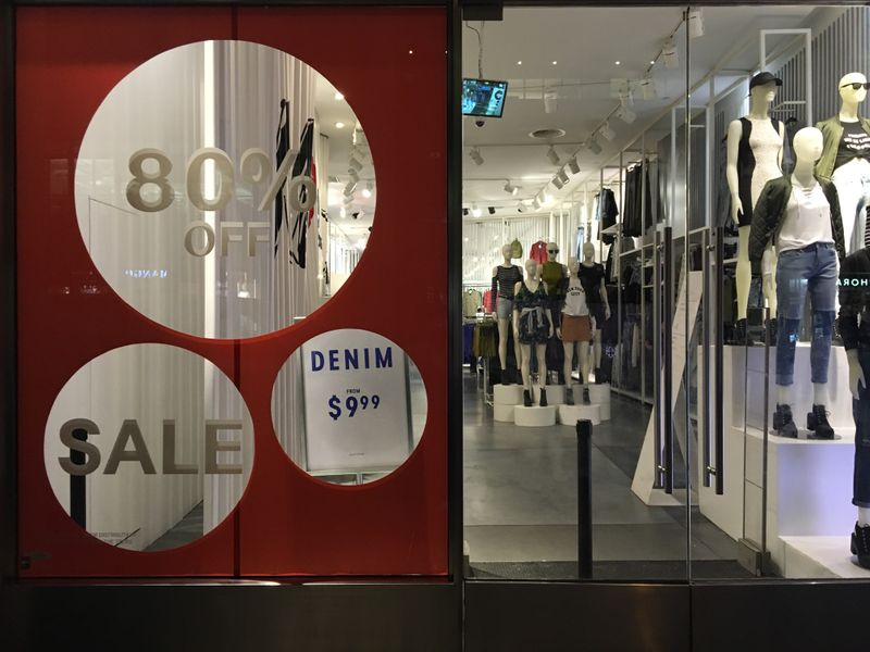 © Reuters. tAn H&M store has sale signs in the window in New York City