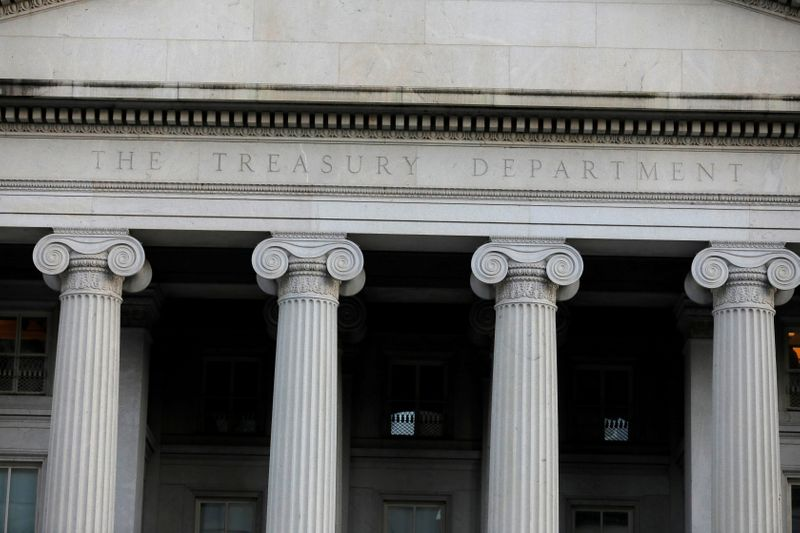 © Reuters. FILE PHOTO: FILE PHOTO: The United States Department of the Treasury is seen in Washington, D.C.