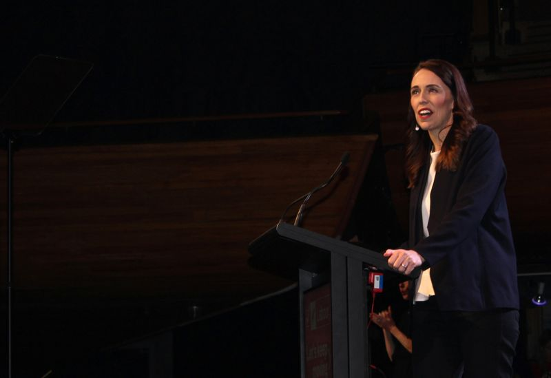 © Reuters. FILE PHOTO: Prime Minister Jacinda Ardern addresses her supporters at a Labour Party event in Wellington