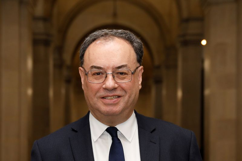 © Reuters. FILE PHOTO: Bank of England Governor Andrew Bailey poses for a photograph on the first day of his new role at the Central Bank in London