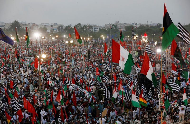 © Reuters. Anti-government protest rally in Karachi