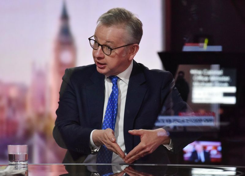 © Reuters. FILE PHOTO: Britain's Chancellor of the Duchy of Lancaster Michael Gove appears on BBC TV's The Andrew Marr Show in London