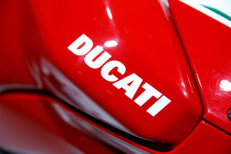 © Reuters. Ducati logo is pictured during the Volkswagen Group's annual general meeting in Berlin