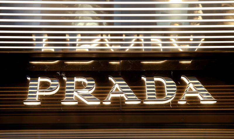 © Reuters. Italian luxury fashion house Prada's logo is seen at a store in Zurich